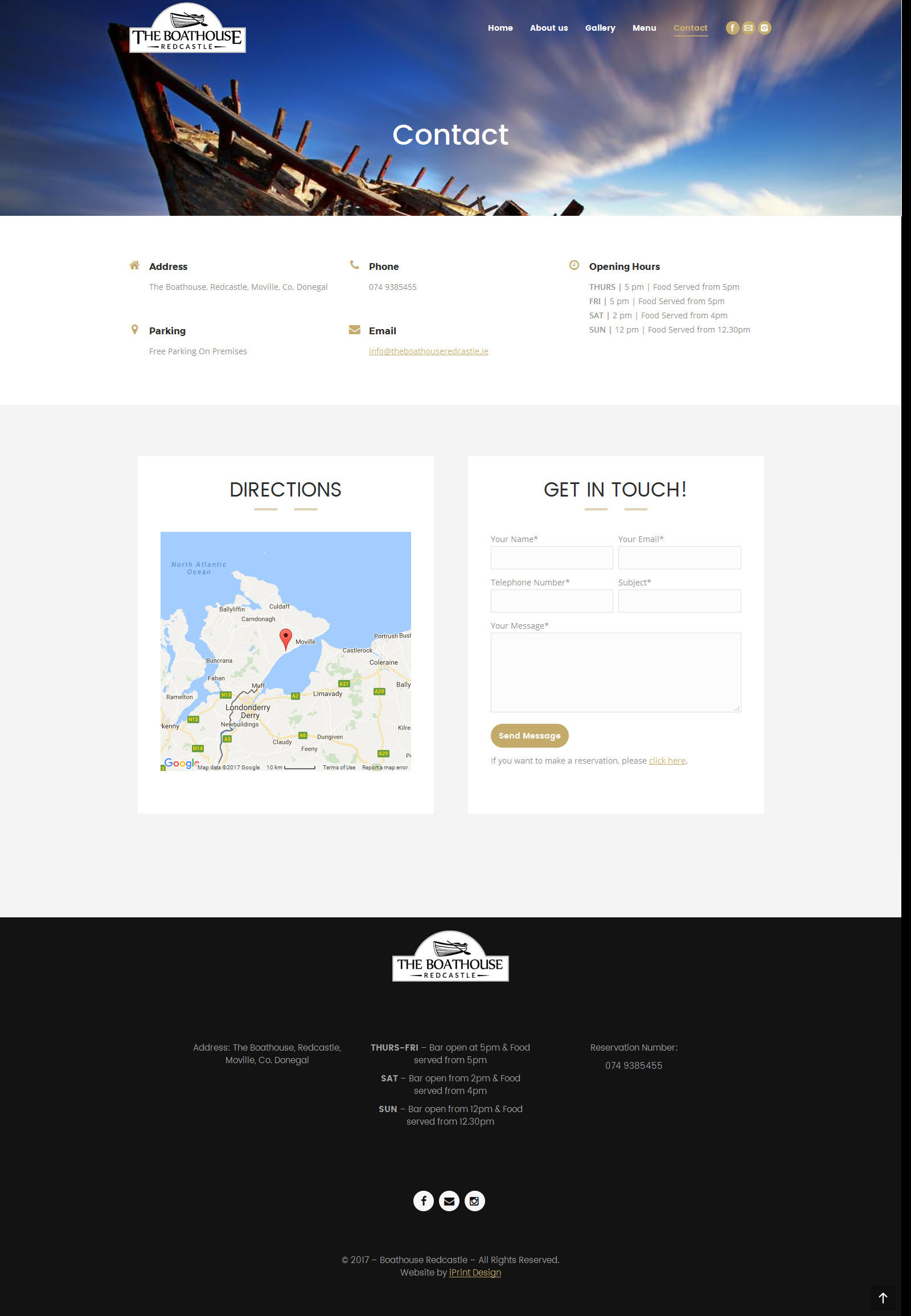 Boathouse website sample page 2
