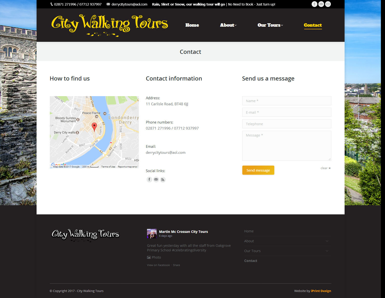 City Walking Tours - Website Sample Page