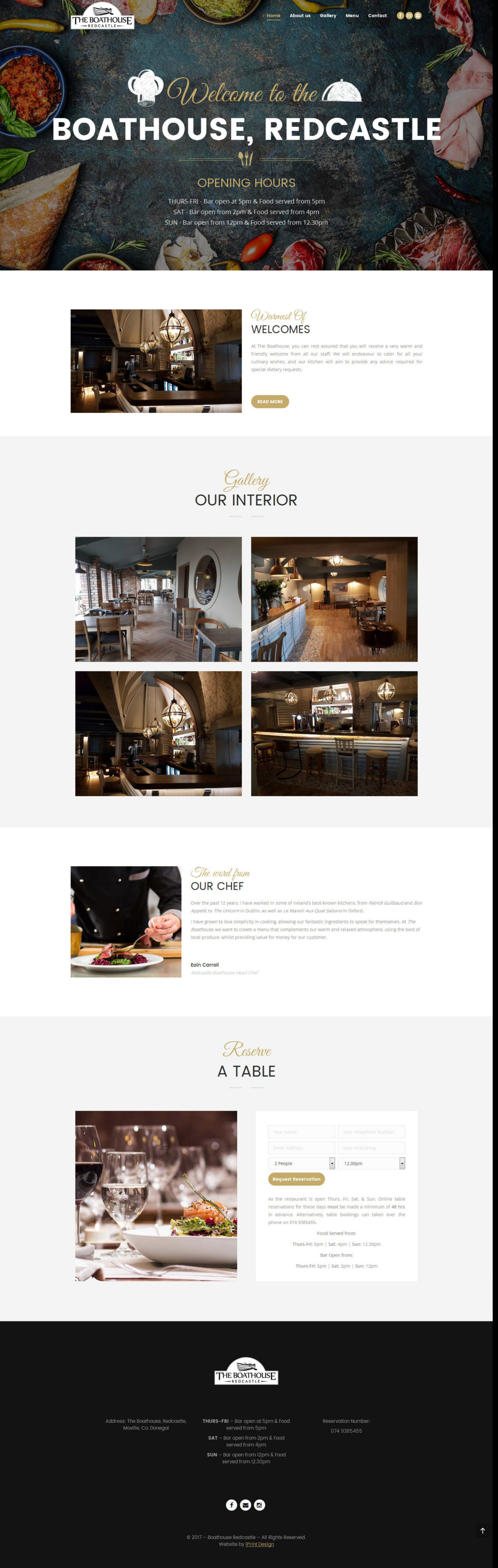 Boathouse Website Sample Page
