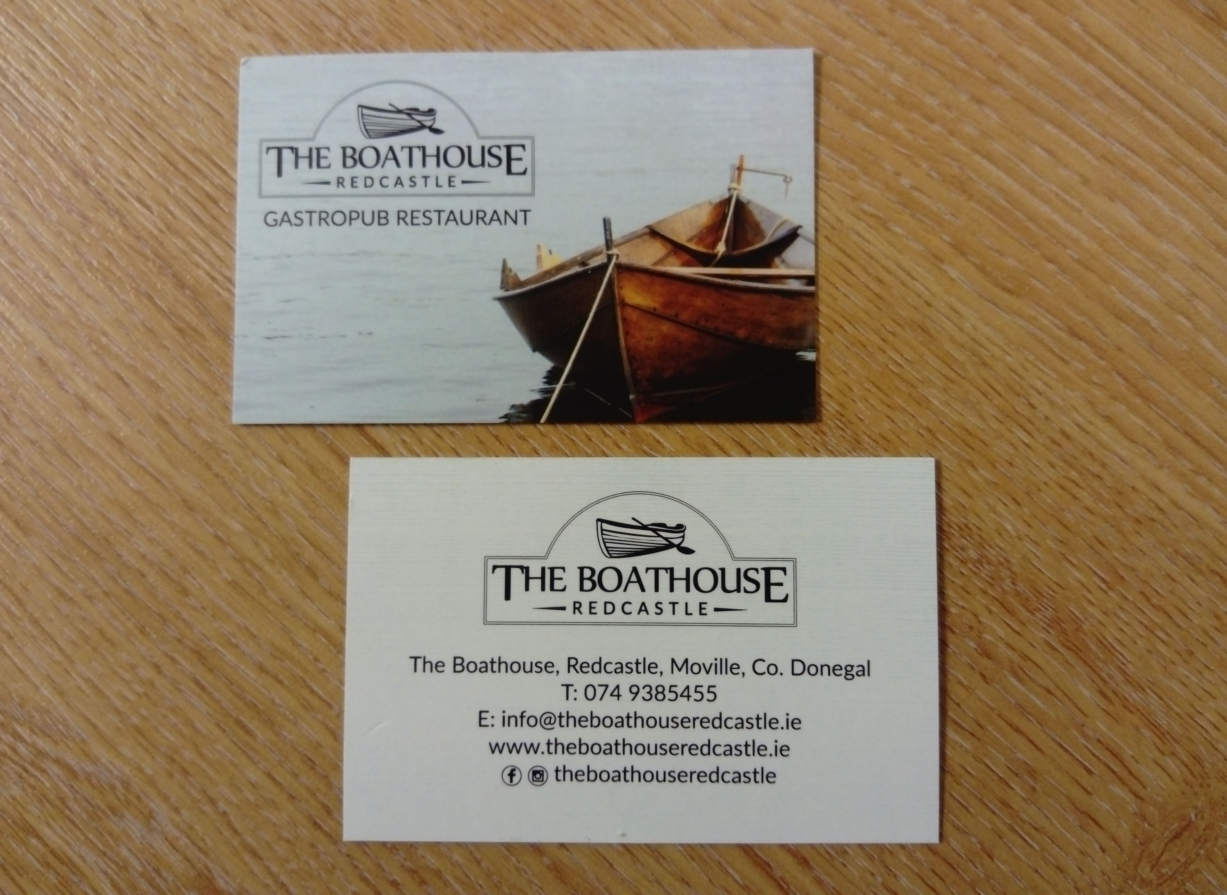 The Boathouse Redcastle - Business Cards
