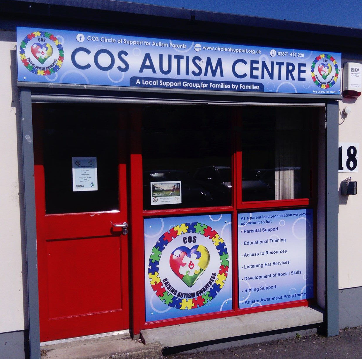 Outdoor signage and window graphics for COS autism centre