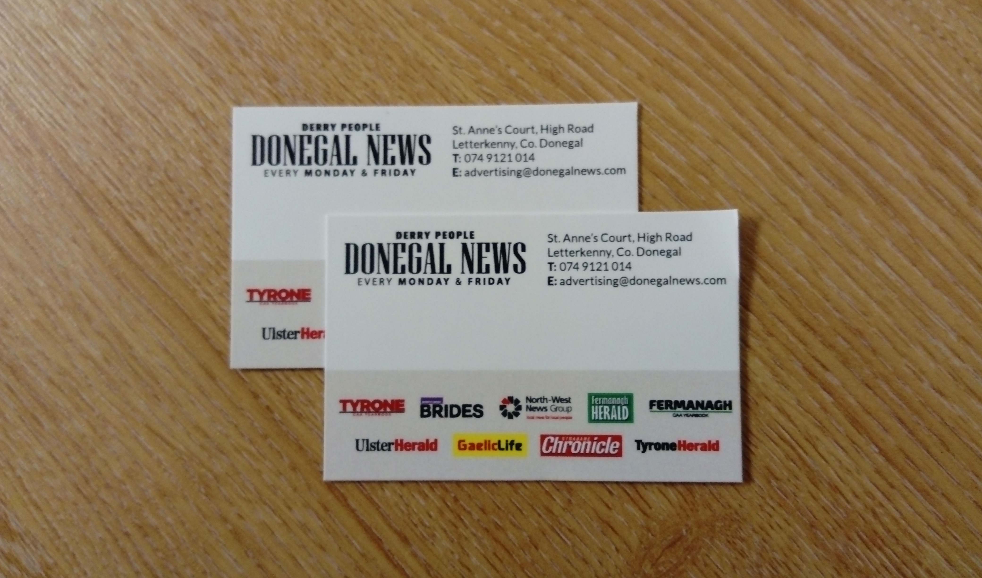 Donegal News - Single sided business cards