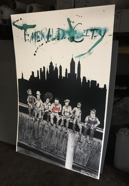Emerald city backing board for local movie