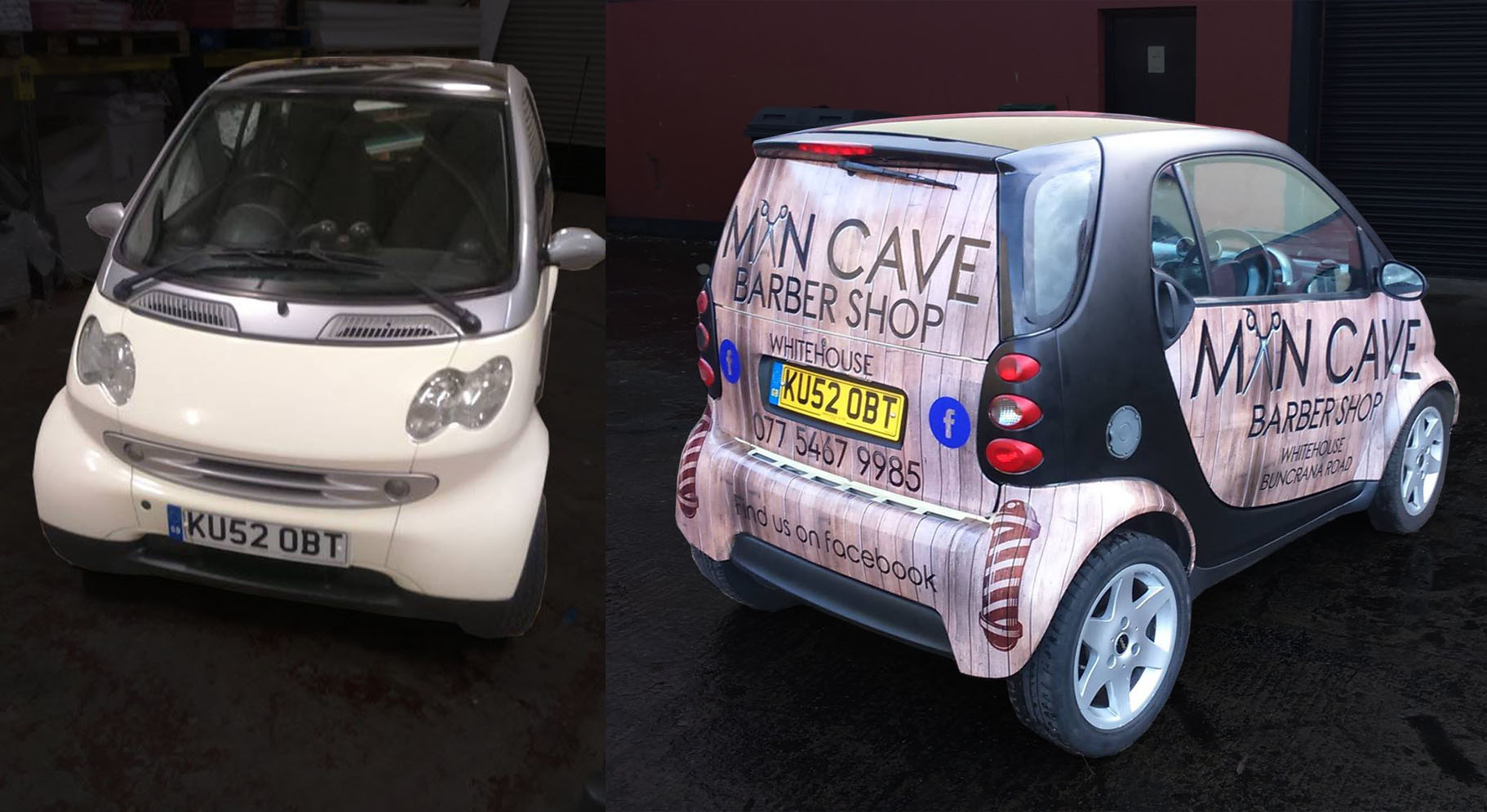 Before & After - Vehicle Wrap for Mancave Barbers