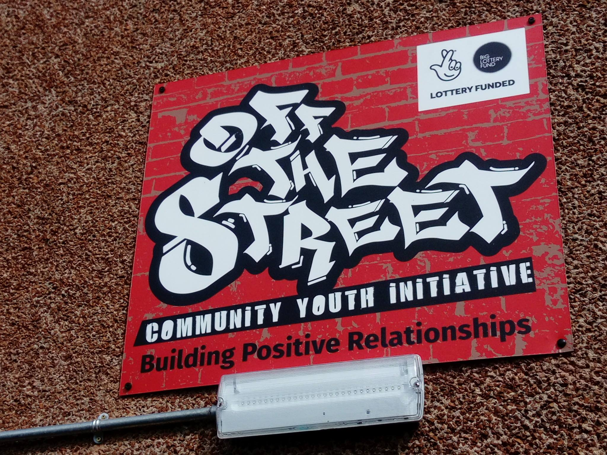 off the street Community Youth Signage