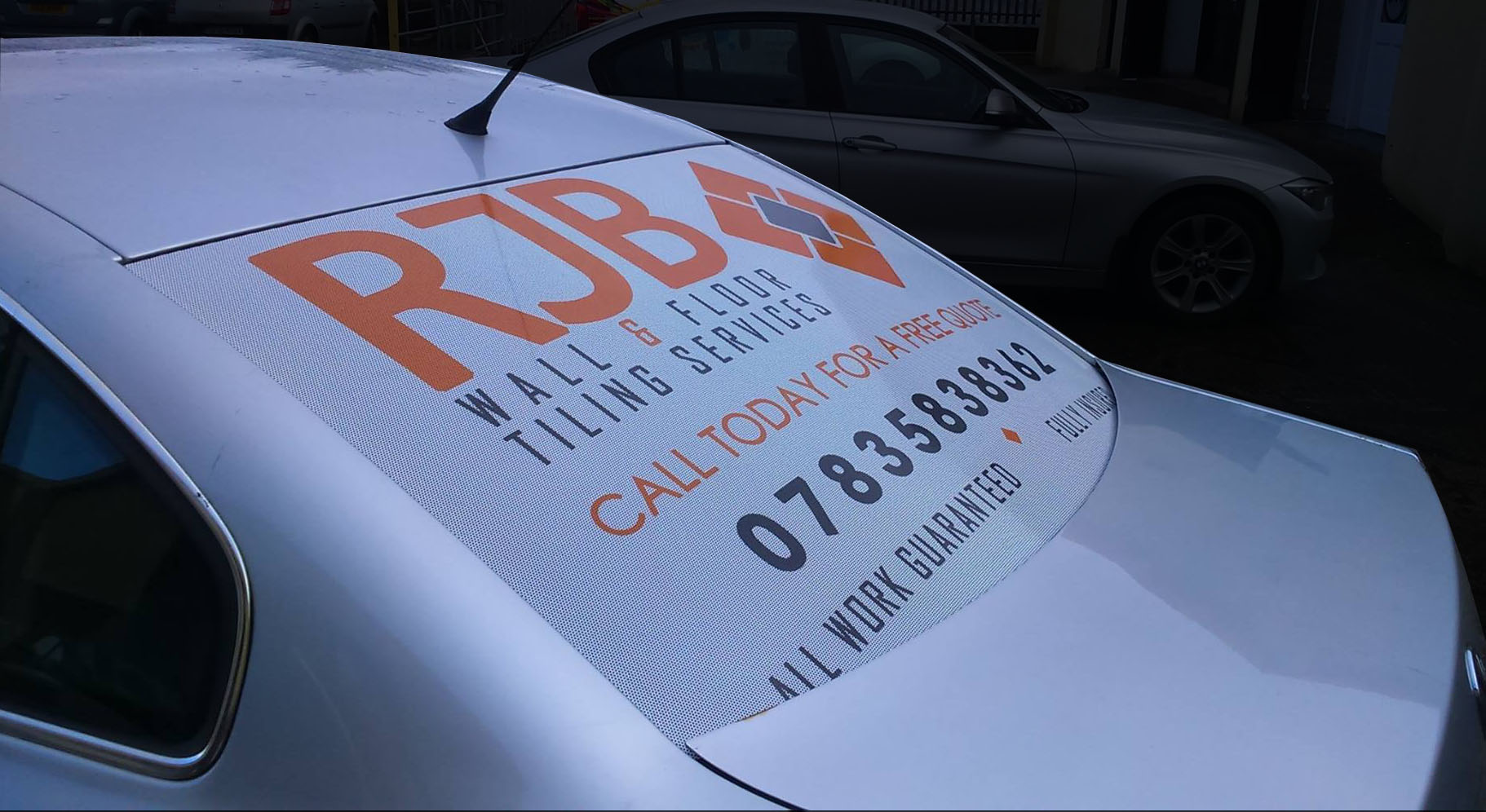 Vehicle Graphics - Rear Window One Way Vision for RJB Tiling Services