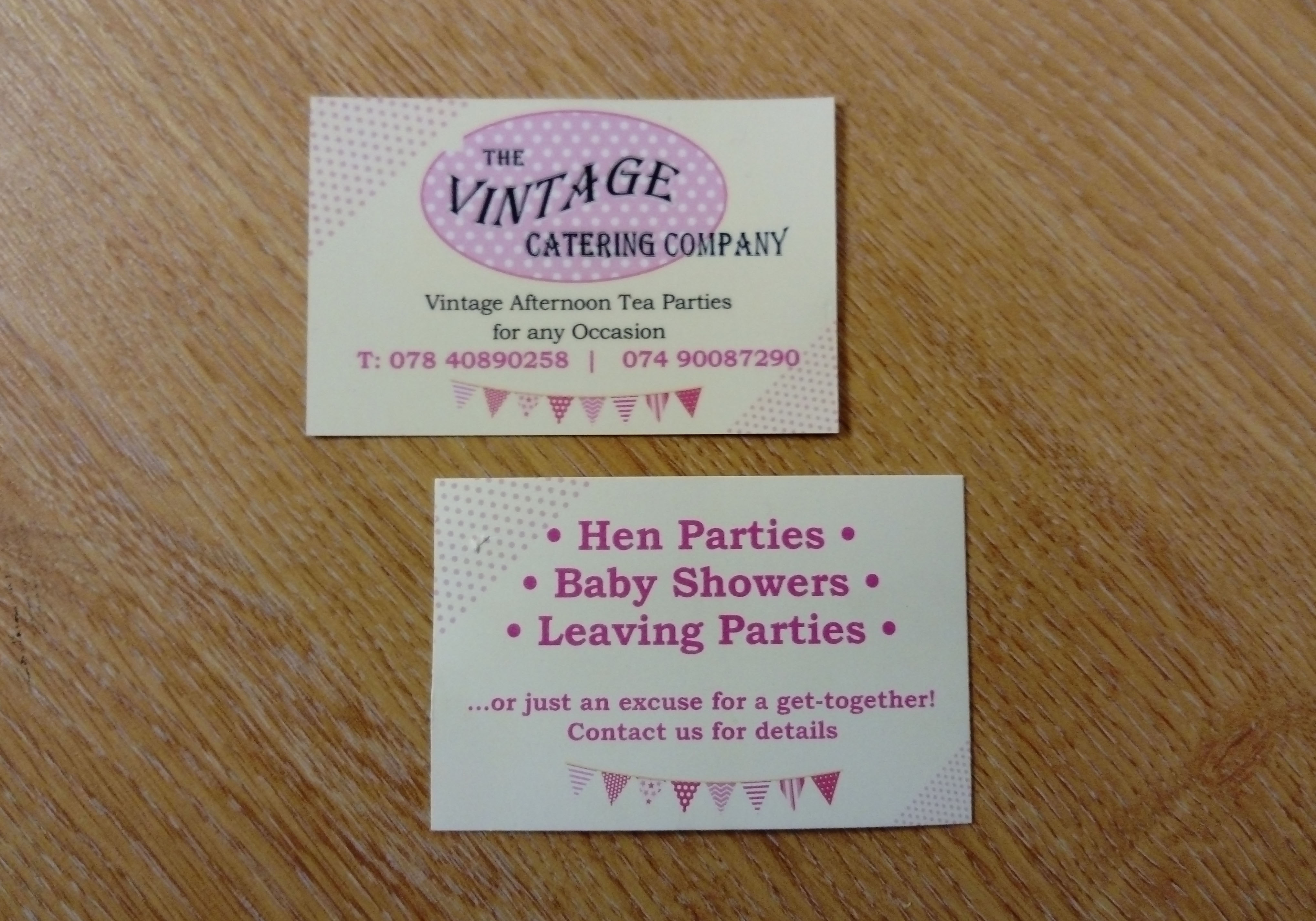 Vintage Catering Company - Business Cards